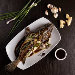 WHOLE GAROUPA FISH STEAMED IN SPRING ONION & GINGER