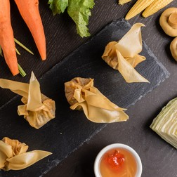 VEGETABLE WON TON WITH PLUM SAUCE