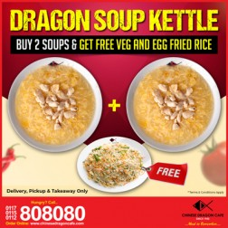 SOUP KETTLE: SWEET CORN SOUP WITH CRAB & EGG(R) + FREE Fried Rice with Veg & Egg(S)